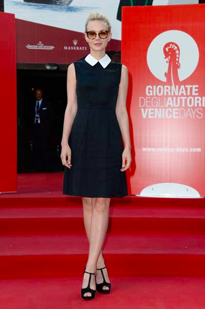 Carey Mulligan channels her inner Coco Chanel in black and white Miu Miu