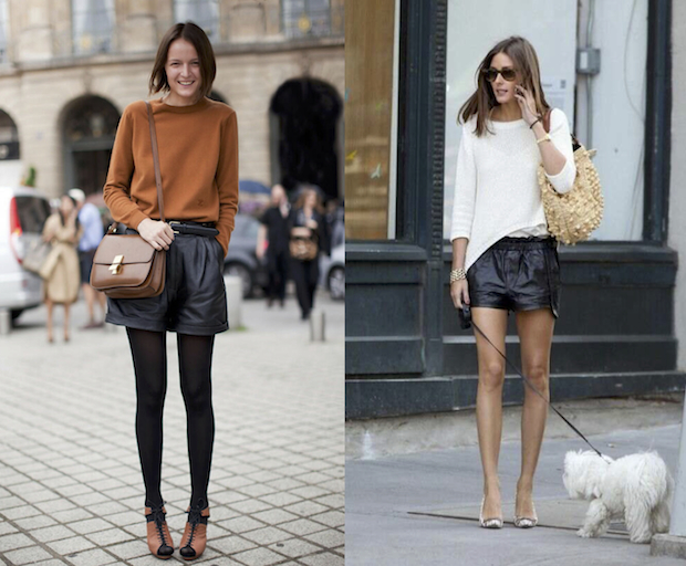 how to wear: leather shorts