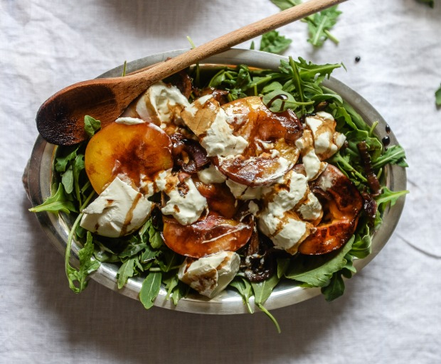 Healthy lunch ideas: Grilled Peach and Burrata Salad