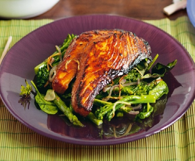 Five Spice Salmon With Broccolini And Asparagus Recipe