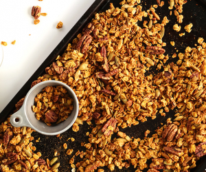 pumpkin pecan and maple granola