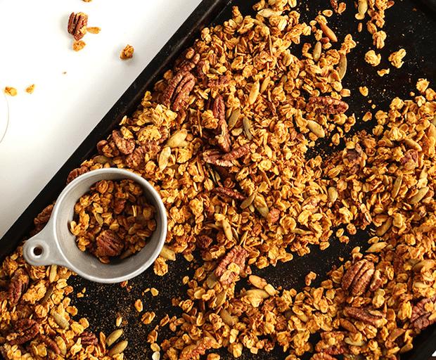 pumpkin pecan and maple granola