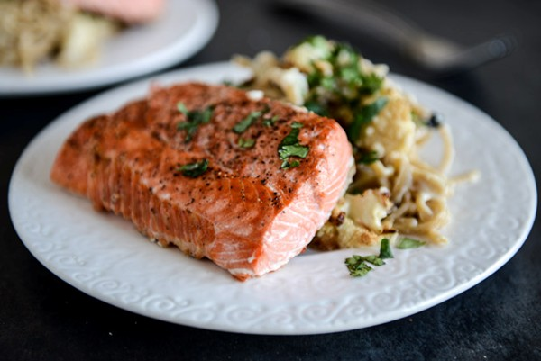 Garlic Chilli Salmon With Pine Nuts And Cranberries Recipe