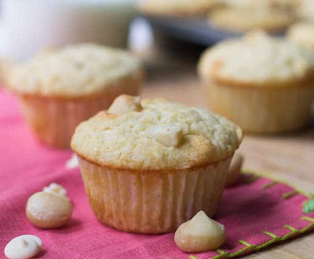 White Chocolate and Macadamia Nut Muffins