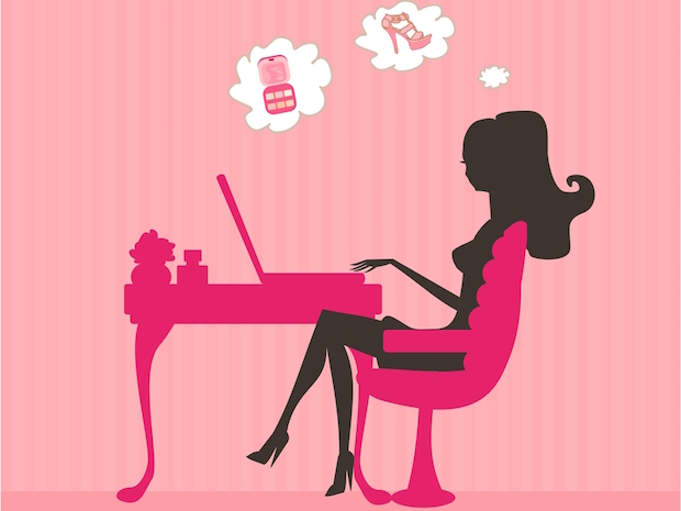 online shopping woman desk laptop