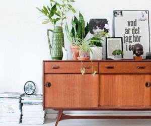 armchair, armoire, credenza, interior decorating, room decorating ideas, vintage interior design, vintage pieces, wallpaper