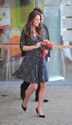 duchess kate blue polka dot dress