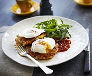 Poached eggs, corn fritters, healthy corn fritters recipe, breakfast recipes