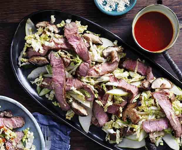 Korean Beef, Cabbage And Mushroom Salad