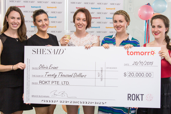 SHESAID's editorial assistant Issy, editor Nadia, and content producers Nadine and Daisy with the lucky winner.