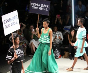 "Fashion Week in Johannesburg, South Africa, March 2015. The Collection by Mantsho ""Boko Halaal"" (""Western education is PERMITTED"") was inspired by the kidnapped Chibok girls."