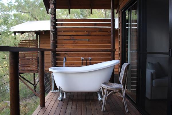 Bathtub on balcony