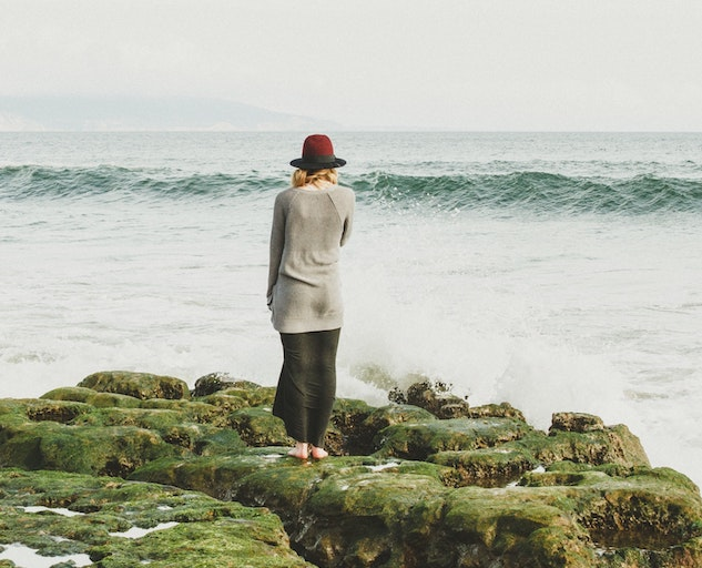 Depression Cycles Woman Sea Side Waves