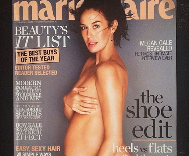 pregnant, Marie Claire, Megan Gale, cover star, magazine