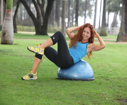 Bosu Bicycle Crunch