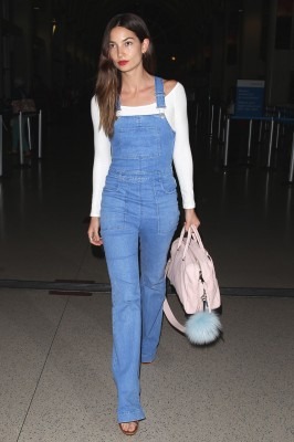 Lily Aldridge denim overall