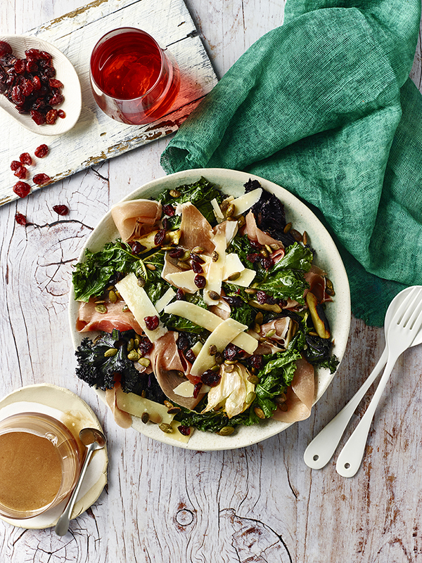 kale salad, cranberry sauce, Jamie Flemming, Master Chef, salad ideas, spring salad, kale and cranberry