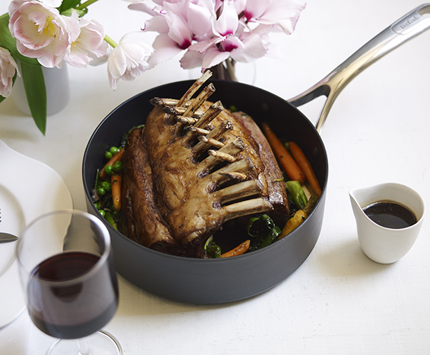 Roasted Rack Of Spring Lamb With Baby Vegetables Recipe