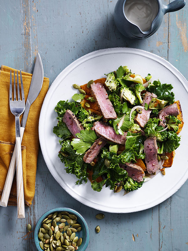 Spiced Beef, Pumpkin And Kale Salad Recipe