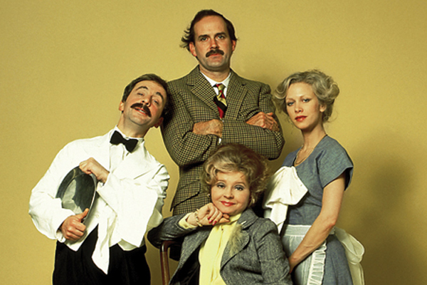 The original cast of Fawlty Towers, from left, Andrew Sachs as Manuel, John Cleese as Basil, Connie Booth as Polly and Prunella Scales as Sybil.
