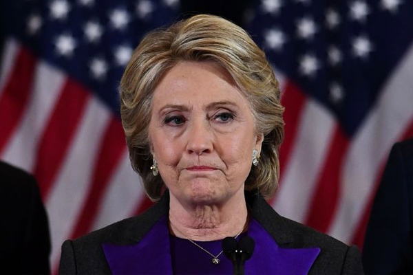 Clinton struggled to hide her devastation in her concession speech.