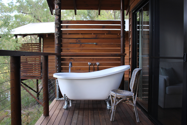 Bathtub on balcony