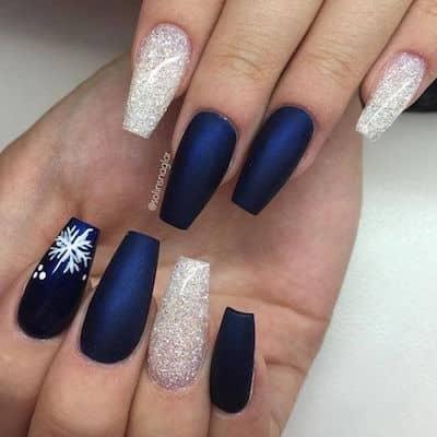 christmas nail art navy snow