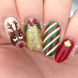 christmas nail art cartoons