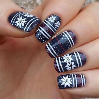 christmas nail art navy sweater