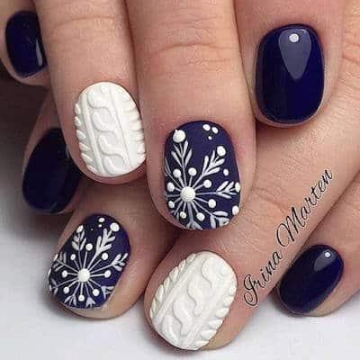 christmas nail art snowflake