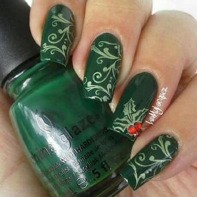 christmas nail art green
