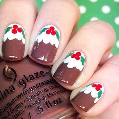 christmas nail art puddings