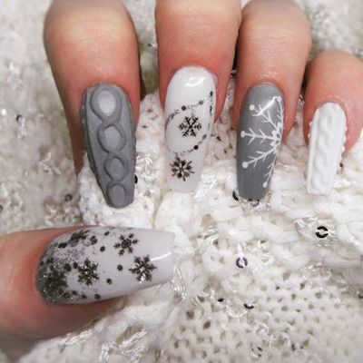 christmas nail art white