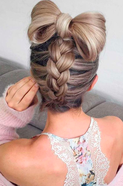 christmas party hairstyle bow and braid