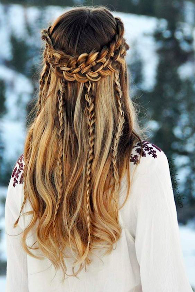 christmas party hairstyle braid halo