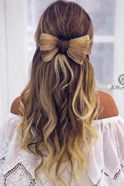 christmas party hairstyle bow