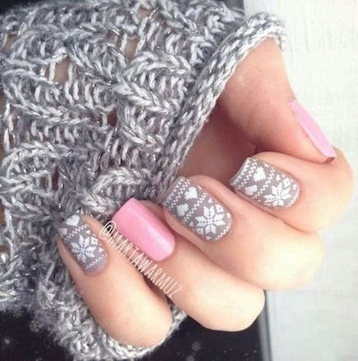 christmas nail art sweater