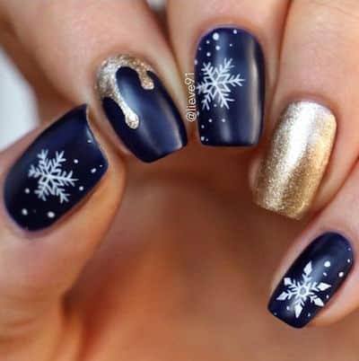 christmas nail art gold and navy