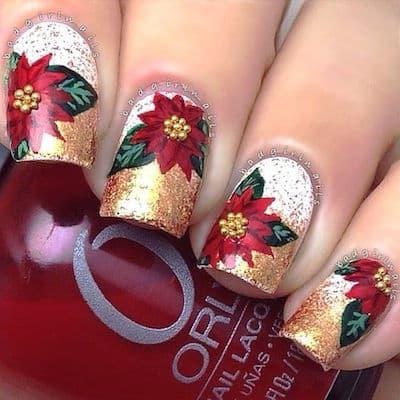 christmas nail art flower