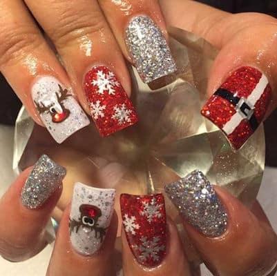 christmas nail art santa design