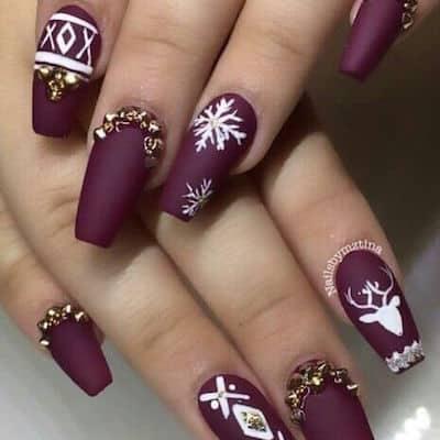 christmas nail art maroon